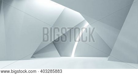 Abstract White Futuristic Hall Room 3d Render Illustration