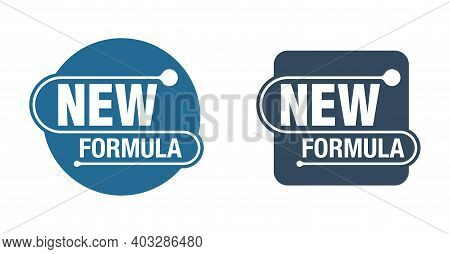 New Formula Circular And Square Stamp - Isolated Vector Sticker For Packaging Information And Confor