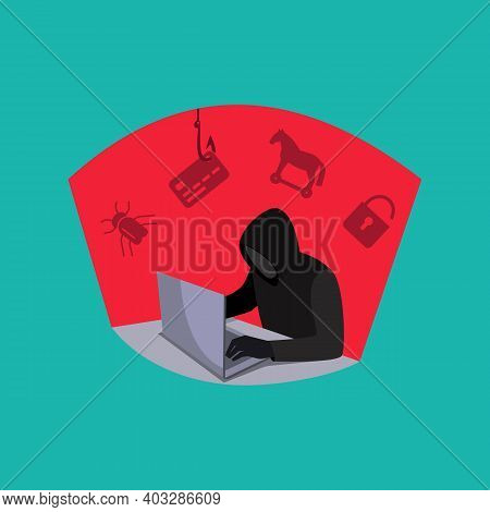 A Hacker With A Laptop. Internet Hacking, Hacking Of Bank Accounts, Theft Of Personal Data, Bugs In