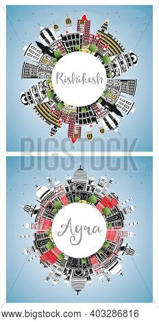 Agra and Rishikesh India City Skyline Set with Color Buildings, Blue Sky and Copy Space.