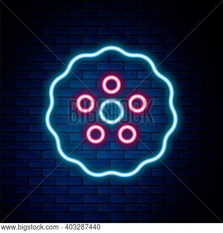 Glowing Neon Line Gear Icon Isolated On Brick Wall Background. Cogwheel Gear Settings Sign. Cog Symb