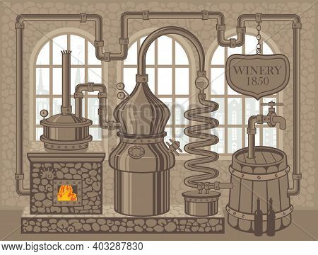 Vector Banner For Winery With An Old Winemaking Equipment In Retro Style. Decorative Illustration Of
