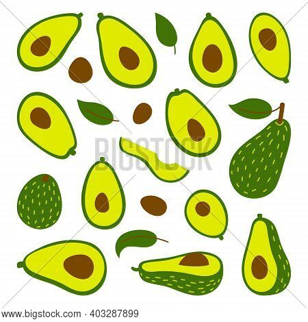 Cooking With Avocados Vector Illustration Set. Whole Avocado And Cut Slices Isolated On White Backgr