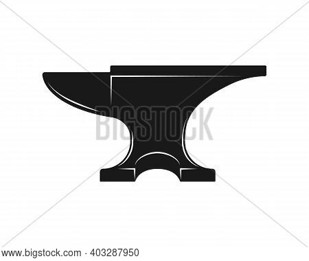 Anvil Shape Vector Icon. Blacksmith Workshop Sign. Metal Forging Industry Symbol. Iron And Steel Cra