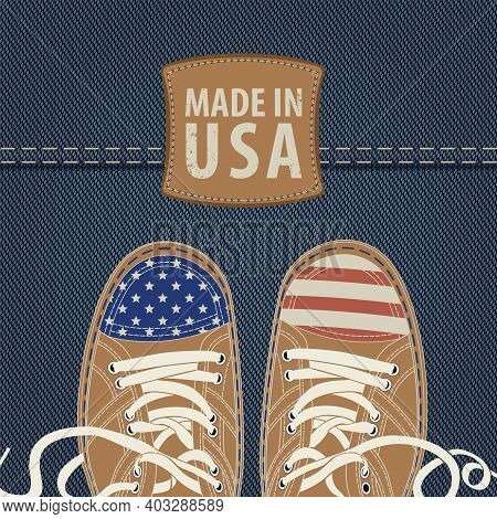 Vector Banner With Leather Patch And Stylized Shoes Or Sneakers With American Flag Colors On A Denim