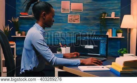 African American Remote Woman Architect Working On Modern Cad Program Overtime. Industrial Black Fem