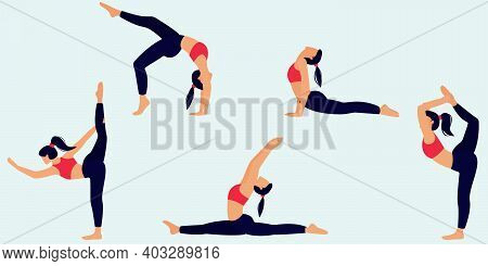 Set Of 5 Physical Exercises. The Girl Performs Physical Exercises That Are Ideal For Any Purpose. Sp