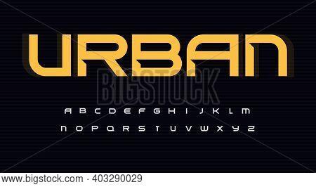 Urban Wide Alphabet. Sans Serif Font With Bevel, Minimalist Type For Modern Futuristic Logo, Headlin