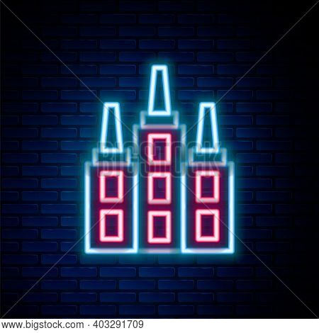Glowing Neon Line Skyscraper Icon Isolated On Brick Wall Background. Metropolis Architecture Panoram