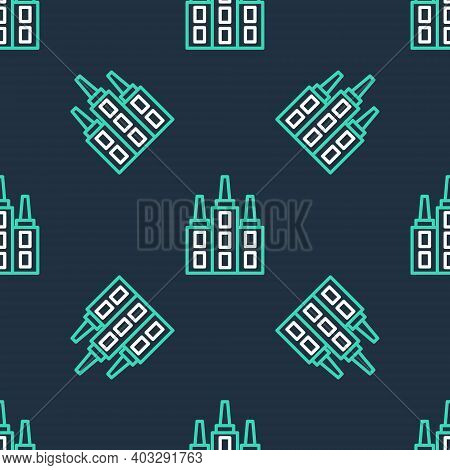 Line Skyscraper Icon Isolated Seamless Pattern On Black Background. Metropolis Architecture Panorami