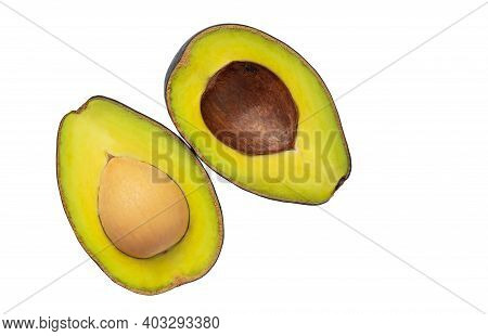 Top View Cut Half Avocado With Seed, Put Together Alternately Bottom, Close Up Image, Isolated Cut H