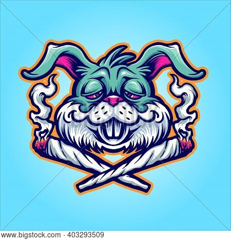 Rabbit Cannabis Joint Weed Smoke Graphic Illustrations For Your Work Logo, Mascot Merchandise T-shir