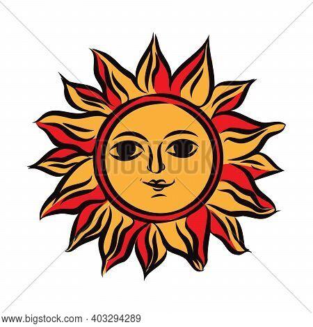 Symbol Of The Sun In Ethnic Russian Style A Vector. Slavic Symbol Of The Sun Vector Illustration