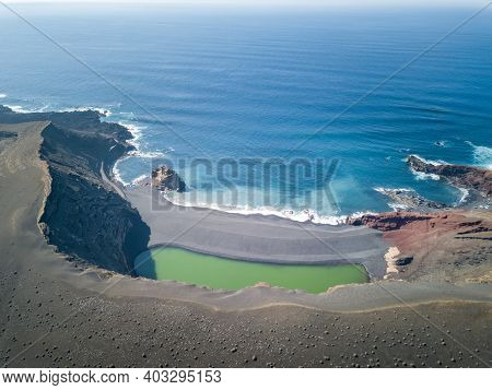 El Golfo Green Volcanic Lake And Ocean From Above, Lanzarote, Canary Islands. High Quality Photo