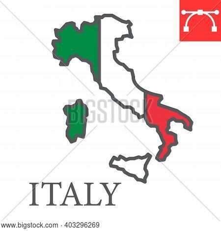 Map Of Italy Color Line Icon, Country And Geography, Italy Map Flag Sign Vector Graphics, Editable S