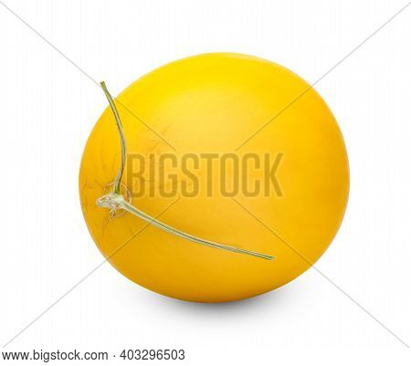 Orange Cantaloupe Melon Smooth Skin Isolated On White Background ,include Clipping Path