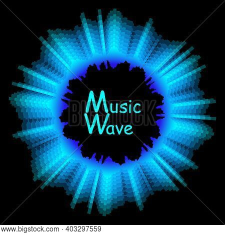 Round Sound Wave Colorful Music Poster. Digital Technology Illustration. Vector Abstract Background