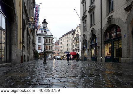 Munich. Bavaria, Germany - April 29th 2019: Landmarks Of Munich Hofbrauhaus Beer Restaurant And Hard