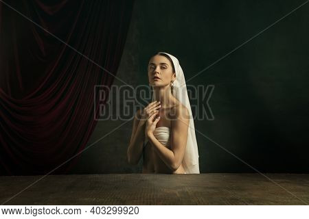 Tender. Modern Remake Of Classical Artwork - Young Medieval Woman In White Cloth On Dark Studio Back