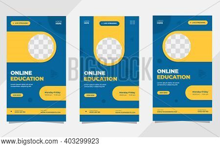 Set Of Minimalist Background With Circle Yellow Frame. Suitable For Social Media Stories Post Templa