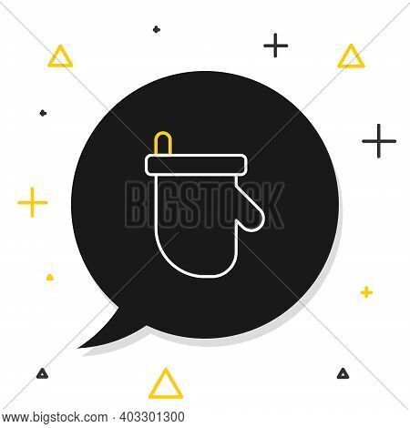 Line Sauna Mittens Icon Isolated On White Background. Mitten For Spa. Colorful Outline Concept. Vect