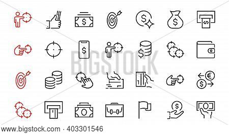 Business And Finance Thin Line Icon Set, Contains Icons Such As Coins, Currency Exchange, Card Payme