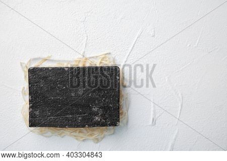 Natural Tar Soap On White Background, Top View
