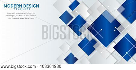 Abstract Geometric Background With Square Shape Blue And Grey Overlapping On Whie Background. You Ca