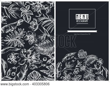 Menu Cover Floral Design With Chalk Monstera, Banana Palm Leaves, Strelitzia, Heliconia, Tropical Pa