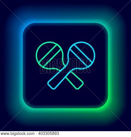 Glowing Neon Line Maracas Icon Isolated On Black Background. Music Maracas Instrument Mexico. Colorf