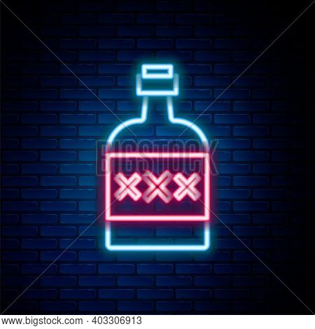 Glowing Neon Line Tequila Bottle Icon Isolated On Brick Wall Background. Mexican Alcohol Drink. Colo