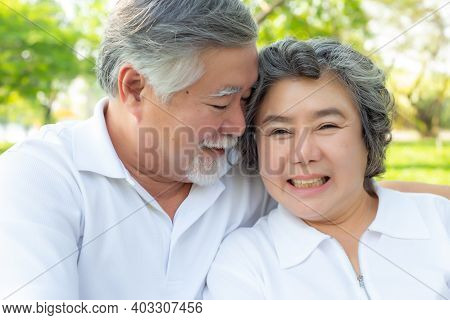 Portrait Senior Couple. Old Man And Old Woman Love Each Other. Elderly Man And Elderly Woman Get Hap