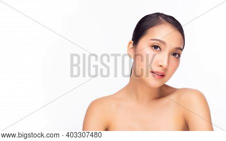 Happy Beautiful Asian Woman Has Beauty Facial Skin And Heathy Skin. Portrait Attractive Young Asia G