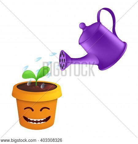 A Spray Of Water Drops From A Metal Watering Can Irrigate A Green Sprout In A Flower Pot. Vector Ill