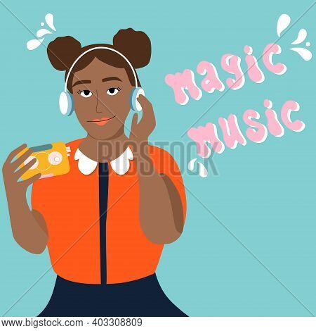 Young Afro American Woman Is Listening To Music In Headphones And Enjoy Sound.girl Is Holding Retro