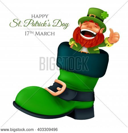 Cute Bearded Leprechaun Peeking From The Boot And Showing Thumbs Up. Vector Illustration Of Laughing