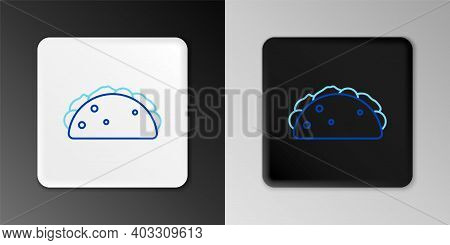 Line Taco With Tortilla Icon Isolated On Grey Background. Traditional Mexican Fast Food Menu. Colorf