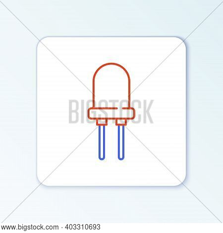 Line Light Emitting Diode Icon Isolated On White Background. Semiconductor Diode Electrical Componen