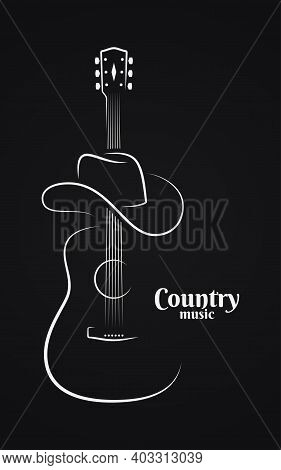 Country Music Sign. Cowboy Hat With Guitar