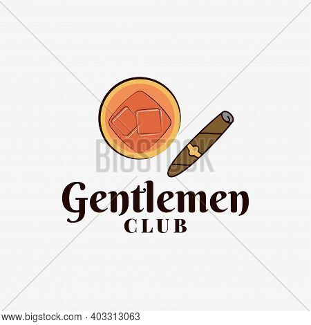 Gentlemen Club Logo With Whiskey Glass And Cigar