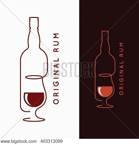 Rum Bottle Banner. Glass Of Rum On White And Black