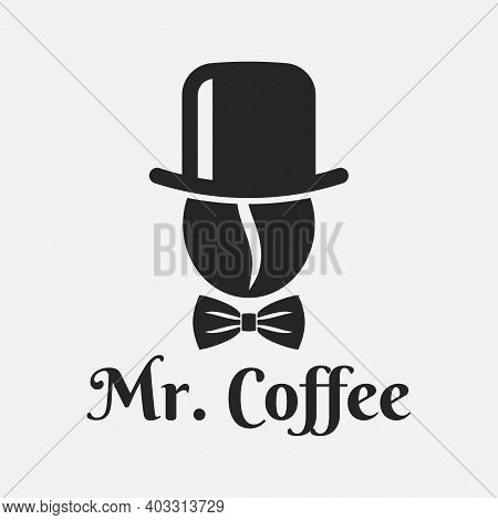 Coffee Bean With Hat Logo. Mister Coffee On White