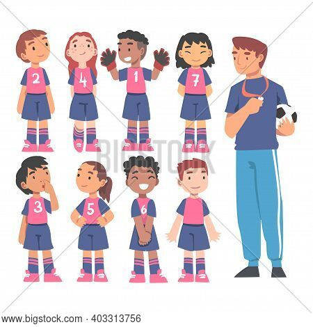 Kid Soccer Players Team With Coach Trainer, Group Of Kids In Sports Uniform Training In School Sport
