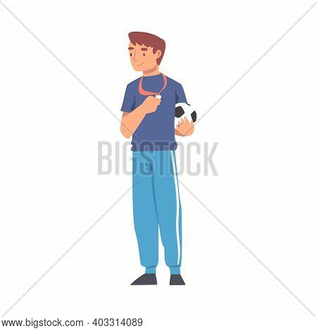 Soccer Coach, Male Football Trainer In Sports Uniform Standing With Whistle And Soccer Ball Cartoon