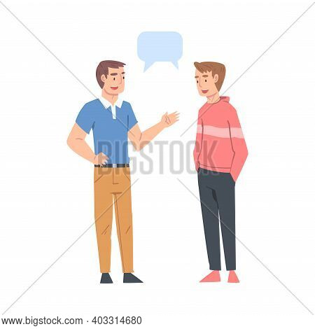 Two Young Men Talking With Speech Bubbles, Friends Or Colleagues Gossiping, Sharing Impressions Cart