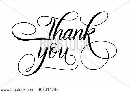 Modern Brush Calligraphy Thank You Isolated On White Background. Vector Illustration