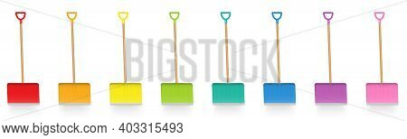 Snow Pusher Set, Colored Snow Shovels, Colorful Collection Of Snow Plowing Service Implements, Funny