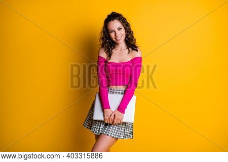 Photo Of Lady Hands Hold Closed Netbook Toothy Beaming Shiny White Smile Wear Pink Top Unclothed Sho