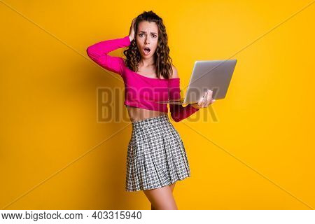 Photo Of Lady Curly Hairdo Arm Hold Netbook Hand Head Open Mouth Terrified Look Horror Mistake Wear