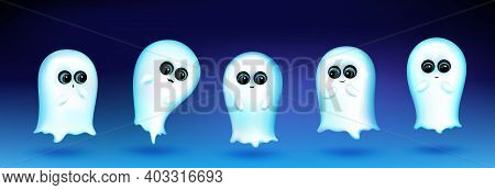 Cute Ghost Character With Different Emotions On Blue Background. Vector Set Of Cartoon Mascot, White